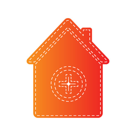 emt: Hospital sign illustration. Orange applique isolated.