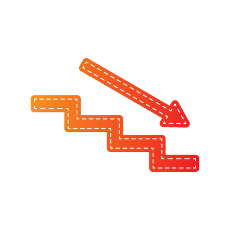 high way: Stair down with arrow. Orange applique isolated.