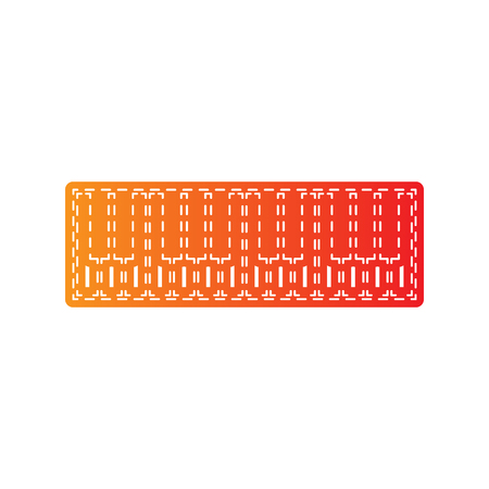 acoustically: Piano Keyboard sign. Orange applique isolated.