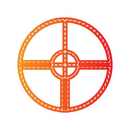 sight: Sight sign illustration. Orange applique isolated. Illustration