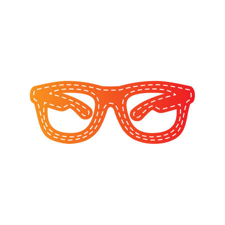 protective eyewear: Sunglasses sign illustration. Orange applique isolated.