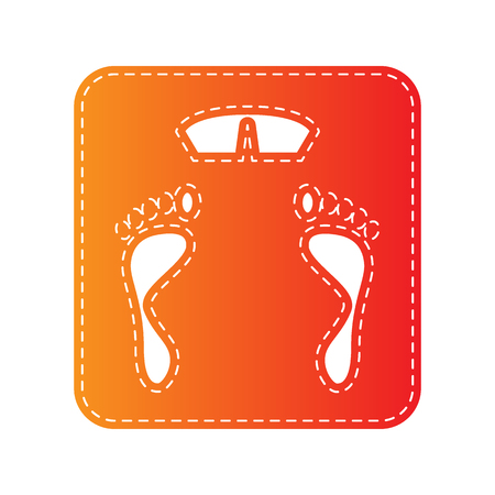 sign orange: Bathroom scale sign. Orange applique isolated.