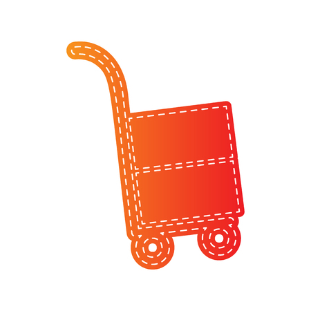 hand truck: Hand truck sign. Orange applique isolated.