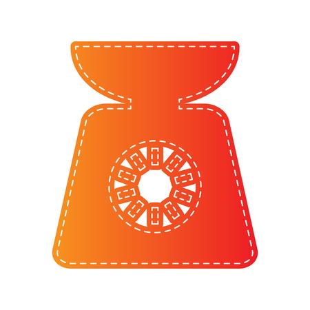 sign orange: Kitchen scales sign. Orange applique isolated.