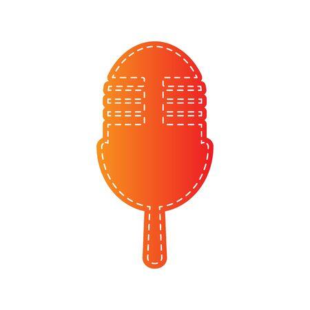 retro microphone: Retro microphone sign. Orange applique isolated. Illustration