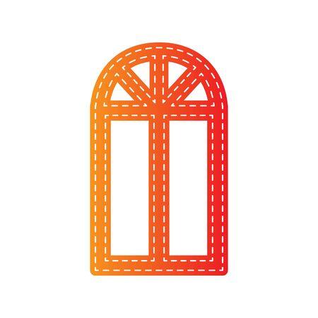 sign orange: Window simple sign. Orange applique isolated.