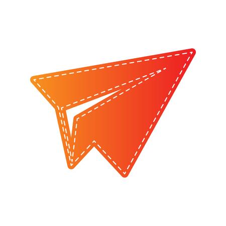 sign orange: Paper airplane sign. Orange applique isolated.
