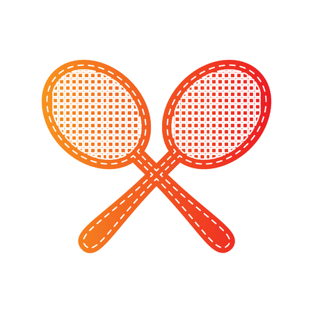 stretched: Tennis racquets sign. Orange applique isolated.