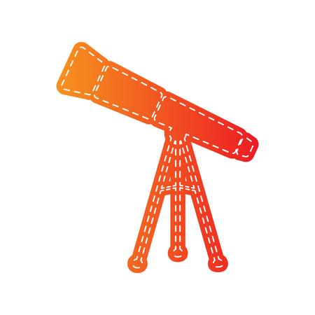 sign orange: Telescope simple sign. Orange applique isolated. Illustration