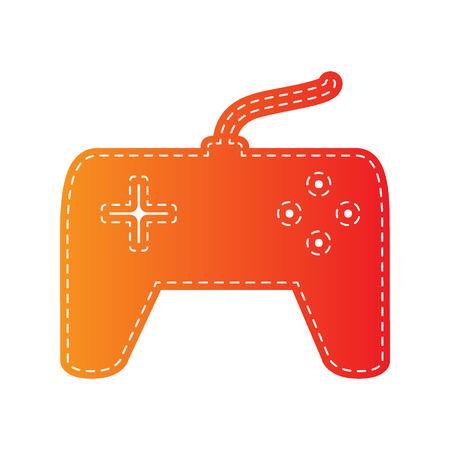 sign orange: Joystick simple sign. Orange applique isolated.