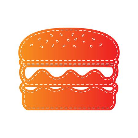 sign orange: Burger simple sign. Orange applique isolated. Illustration