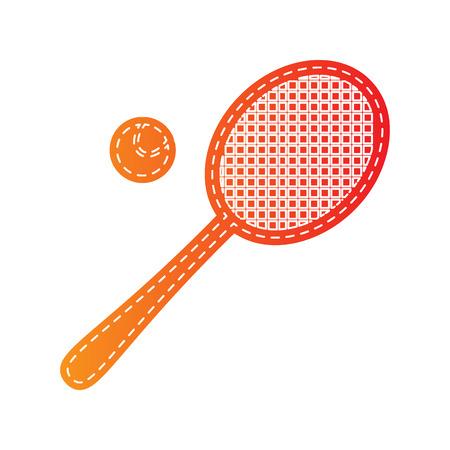 tennis racquet: Tennis racquet sign. Orange applique isolated.