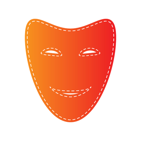 comedy: Comedy theatrical masks. Orange applique isolated. Illustration