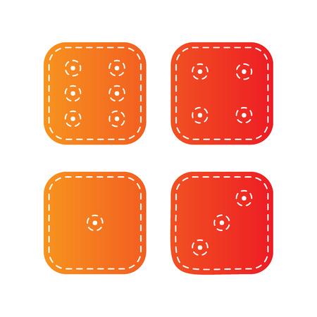ivories: Devils bones, Ivories sign. Orange applique isolated.