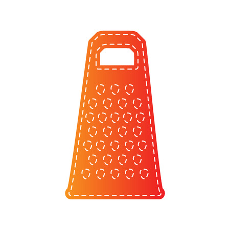 grater: Cheese grater sign. Orange applique isolated.
