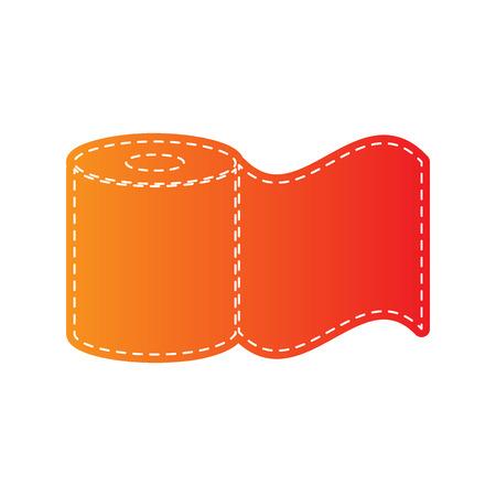 fecal: Toilet Paper sign. Orange applique isolated. Illustration