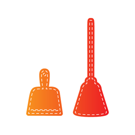 whisk broom: Dustpan vector sign. Scoop for cleaning garbage housework dustpan equipment. Orange applique isolated.