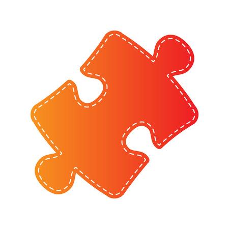 plugin: Puzzle piece sign. Orange applique isolated.