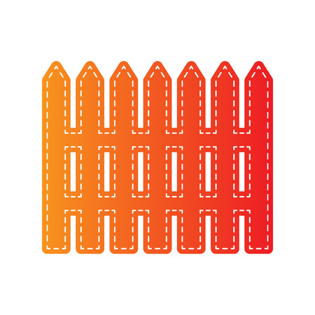 dissociation: Fence simple sign. Orange applique isolated. Illustration