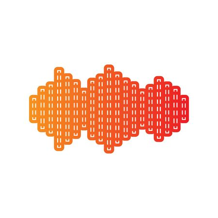 vibrations: Sound waves icon. Orange applique isolated. Illustration