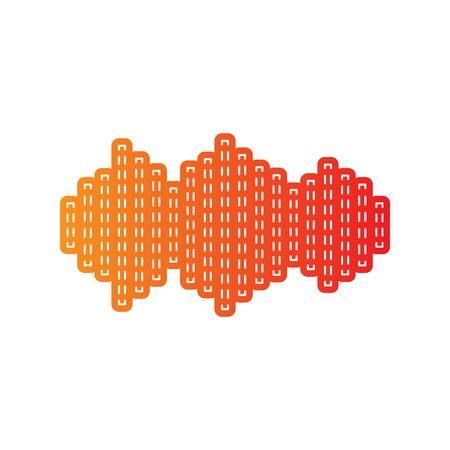 Sound waves icon. Orange applique isolated. Illustration