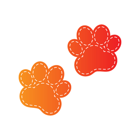 huellas de animales: Pistas animales firman. aislado apliques de color naranja.