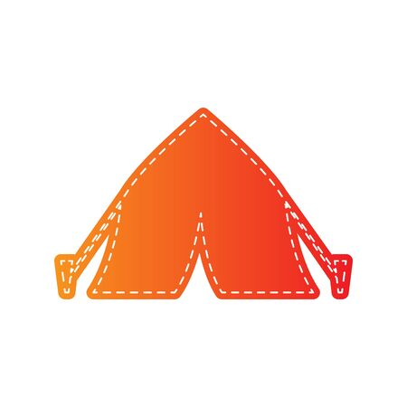 weekend activities: Tourist tent sign. Orange applique isolated. Illustration