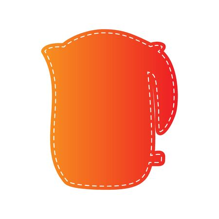electric kettle: Electric kettle sign. Orange applique isolated.