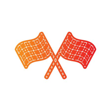 crossed checkered flags: Crossed checkered flags logo waving in the wind conceptual of motor sport. Orange applique isolated. Illustration