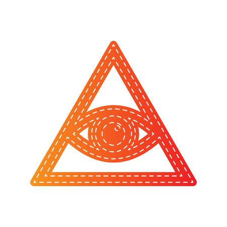 seeing: All seeing eye pyramid symbol. Freemason and spiritual. Orange applique isolated. Illustration