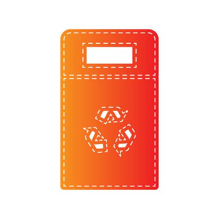 trashing: Trashcan sign illustration. Orange applique isolated. Illustration