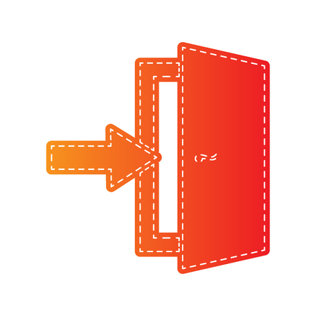 exit sign: Door Exit sign. Orange applique isolated.
