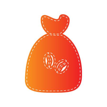 coffee sack: Coffee bag Icon. Coffee bag Vector. Coffee bag Icon Button. Orange applique isolated.