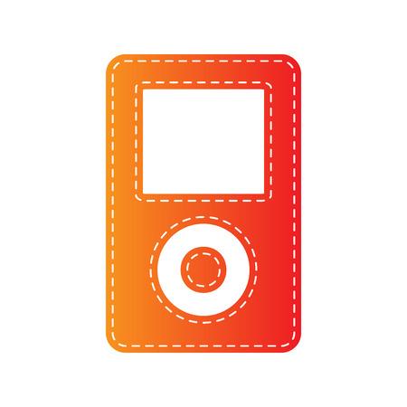 mp: Portable music device. Orange applique isolated. Illustration