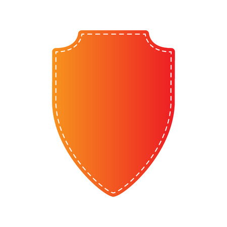 honor guard: Shield sign illustration. Orange applique isolated.
