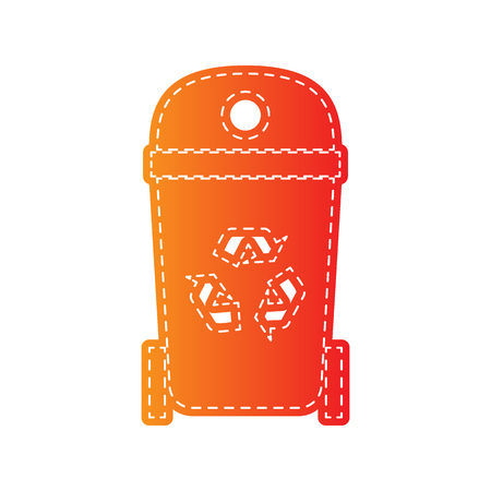 trashcan: Trashcan sign illustration. Orange applique isolated. Illustration