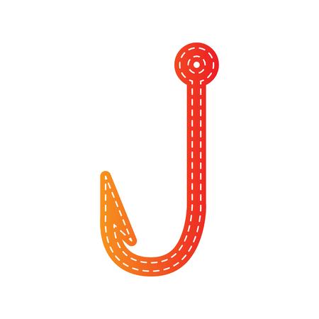 fishhook: Fishing Hook sign illustration. Orange applique isolated.