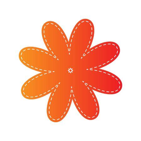 applique flower: Flower sign illustration. Orange applique isolated.