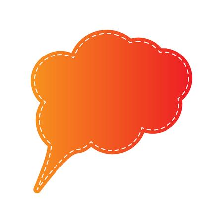 bubble speach: Speach bubble sign illustration. Orange applique isolated.