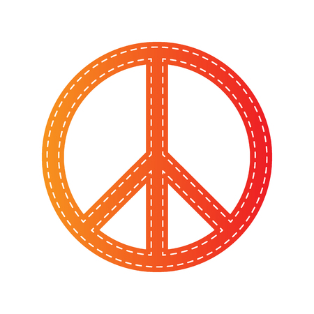 brushwork: Peace sign illustration. Orange applique isolated. Illustration