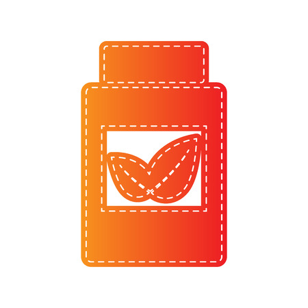 supplements: Supplements container sign. Orange applique isolated.