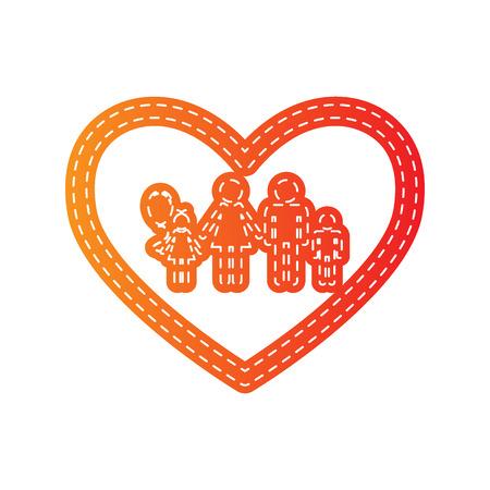 siloette: Family sign illustration in heart shape. Orange applique isolated.