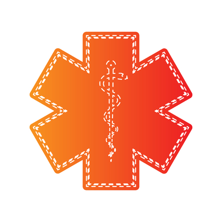 staff of aesculapius: Medical symbol of the Emergency. Star of Life. Orange applique isolated.