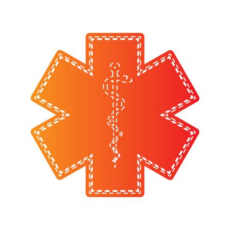 esculapio: s�mbolo m�dico de la emergencia. Estrella de la vida. aislado apliques de color naranja. Vectores
