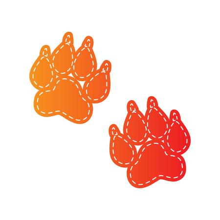 sign orange: Animal Tracks sign. Orange applique isolated.