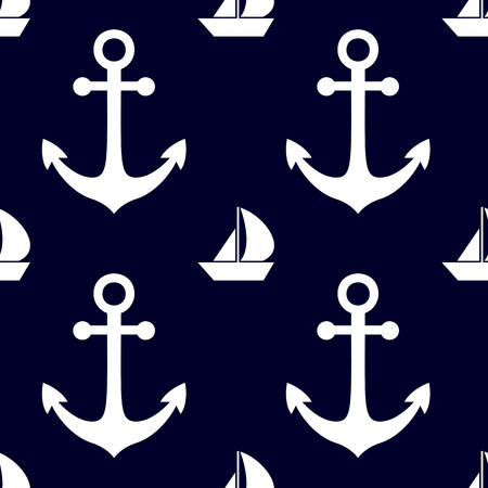 backgrouns: Marine and nautical backgrouns in blue and white colors. Sea theme. Cute seamless patterns design. Vector illustration.