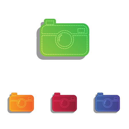 whim of fashion: Digital photo camera sign. Colorfull applique icons set.