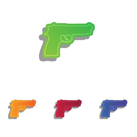 luger: Gun sign illustration. Colorfull applique icons set.
