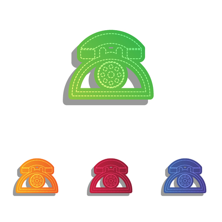telephone icons: Retro telephone sign. Colorfull applique icons set.