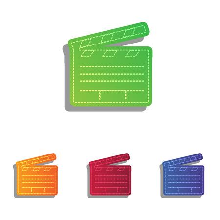 clap board: Film clap board cinema sign. Colorfull applique icons set.